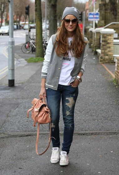 River Island Jacket, Mulberry Bag, Abercrombie And Fitch Jeans, Converse Trainers, Topshop Hat