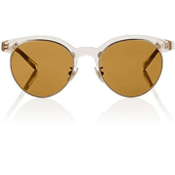 Oliver Peoples Women's Ezelle Sunglasses (5,250 MXN) ❤ liked on Polyvore featuring accessories, eyewear, sunglasses, yellow, round glasses, vintage clear glasses, yellow round sunglasses, vintage round sunglasses and clear round sunglasses