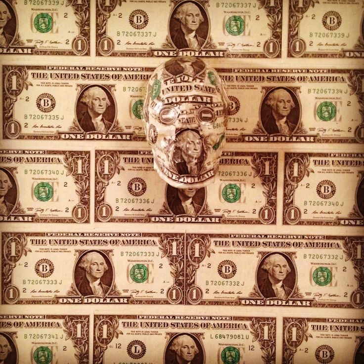 """""""A United State of Dollars #2"""" by SKOLLTOR. Skull lowbrow wall installation sculpture, showing influences of Pop Art and Rauschenberg Abstract Expressionism."""