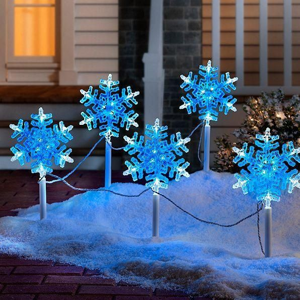 Christmas Pathway Lights.5pc White Blue Led Snowflake Christmas Pathway Lights