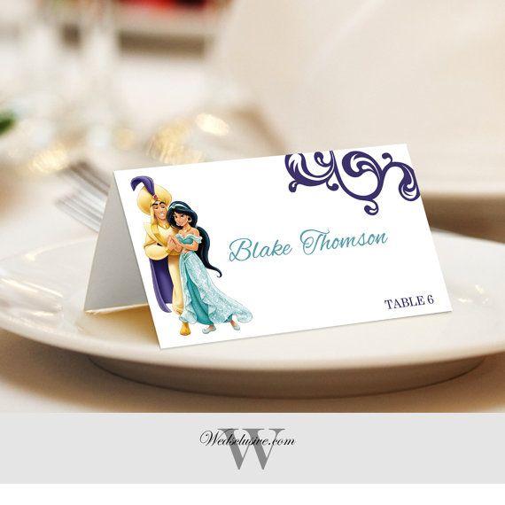 aladdin and jasmine place cards wedding escort cards disney wedding name cards tented or flat set of 12