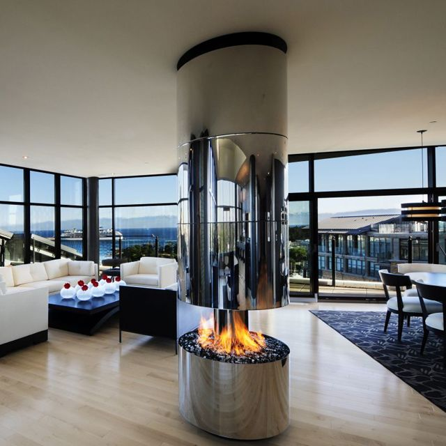 360 degree gas fireplace by Smith Design