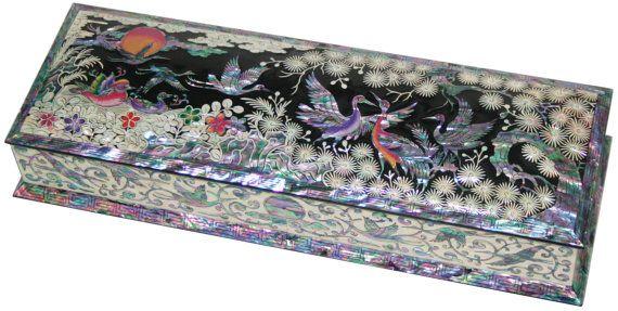 Mother of pearl nacre frindle Fountain pen stand pencil case pencil box vase holder crane design black colors #909