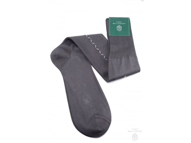 Mid Grey Over the Calf Socks with Light Gray and Dark Charcoal Clocks in Luxury Fil d Ecosse Cotton in 4 Sizes Made in Italy by Fort Belvedere full