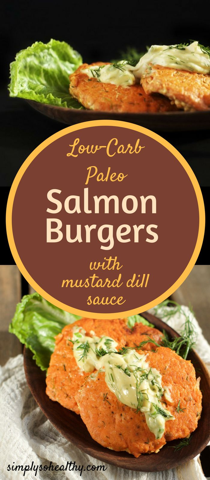 These Salmon Burgers With Mustard Dill Sauce are low-carb, gluten-free and Paleo.  They come together quickly and easily with the help of a food processor. The tender flakes of salmon with hints of scallion and dill are served with a creamy sauce with tones of mustard and dill.  They make the perfect lunch, dinner or could be made in miniature for an appetizer.