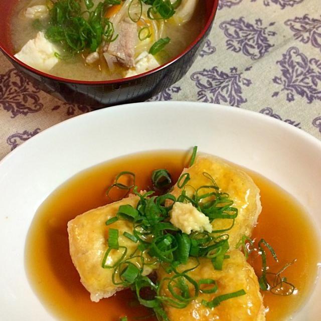 お父さんの誕生日に娘っ子の手作り料理をプレゼント♡ - 29件のもぐもぐ - 揚げ出し豆腐と豚汁 by xxxMxxx