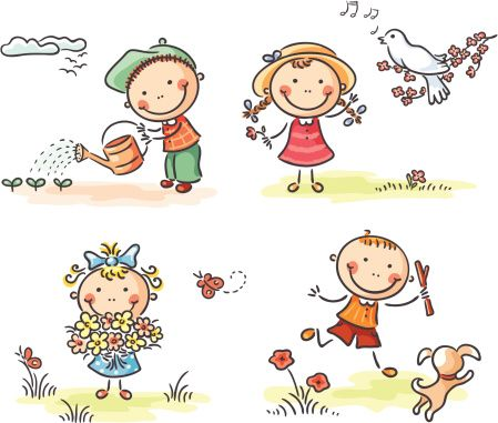 Spring Kids Vector Art 165723418 | Getty Images