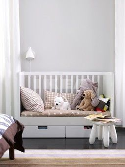 Stuva cot - becomes three sided bed when Milo is bigger.