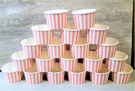 20 Pink striped paper cups/bowls  8oz/200ml ice-cream cups