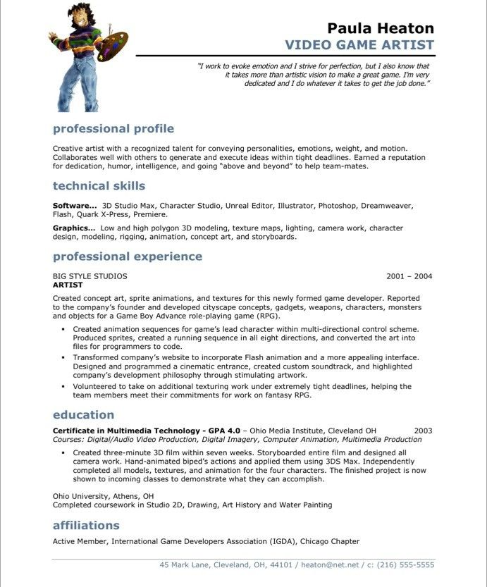 video game artist free resume samples