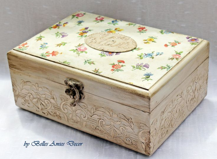 Shabby chic tea box, housewarming gift, gift for her, womens gift, new home gift, shabby home decor, gift for mother grandmother jewelry box by BellesAmiesDecor on Etsy
