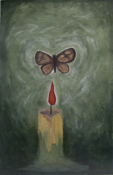 """""""Moth to a Flame"""" by Cholena Drew Hughes, acrylic on canvas, 57 x 36cm"""