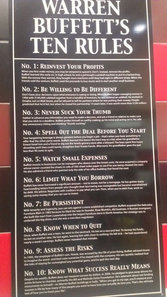 006 Warren Buffet's 10 Rules Of Success I also saw this in a