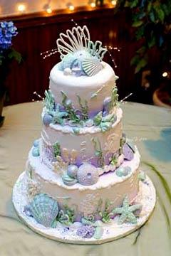 Colorful as an underwater garden, beautiful pastel beach wedding cake.