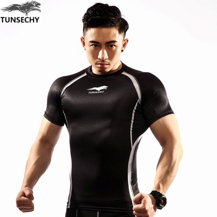 2017  TUNSECHY brand men crime compressed fitness t - shirts with short sleeves bodice fitness for weight base dress #Affiliate