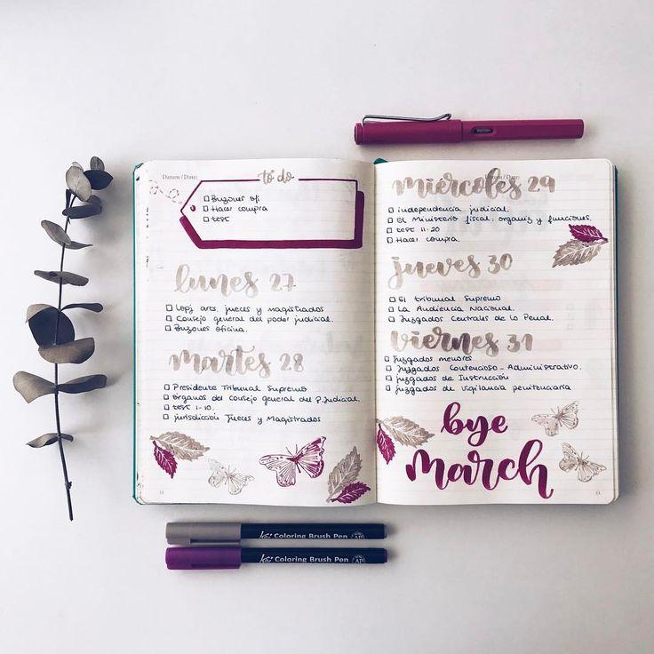 """1,408 Me gusta, 14 comentarios - Bullet Journal & Studygram (@mylittlejournalblog) en Instagram: """"Buenos días de lunes! Semana planificada y al lío! """""""