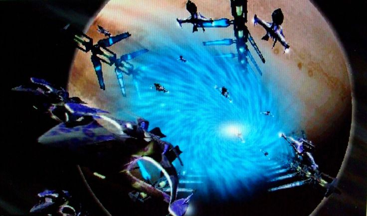 Babylon 5 jumpgate with White Stars pouring out.