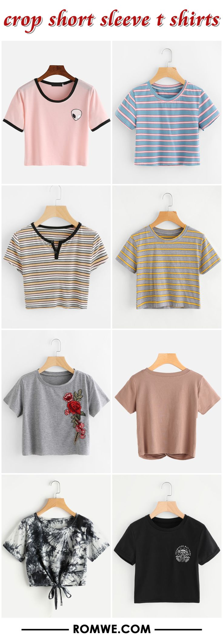 crop short sleeve t shirts from romwe.com