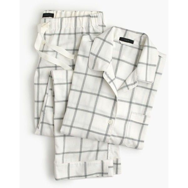 J.Crew Windowpane Plaid Flannel Pajama Set ($125) ❤ liked on Polyvore featuring intimates, sleepwear, pajamas, j.crew, long sleeve sleepwear, holiday pjs, holiday sleepwear and plaid flannel pajamas