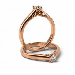 Inel de logodna cu diamant Beckham din aur roz