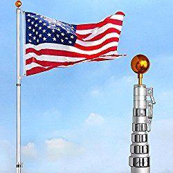 YesHom 30 ft Flag Pole Kit Telescopic 16 Gauge Aluminum Flagpole Free 3'x5′ US Flag & Ball Fly 2 Flags