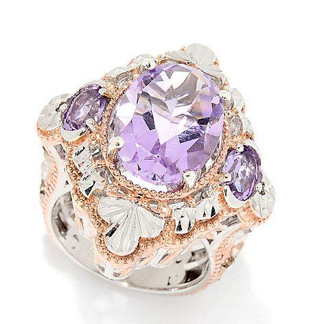 161-744 - Gems en Vogue 7.10ctw Pink Amethyst 3-Stone Diamond Cut Ring