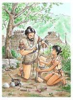 石器をつくる縄文時代の親子のイラスト
