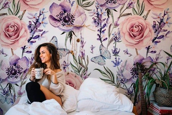 Removable Wallpaper Lavender Roses Wallpaper Self Adhesive Etsy Removable Wallpaper Stick On Wallpaper Rose Wallpaper