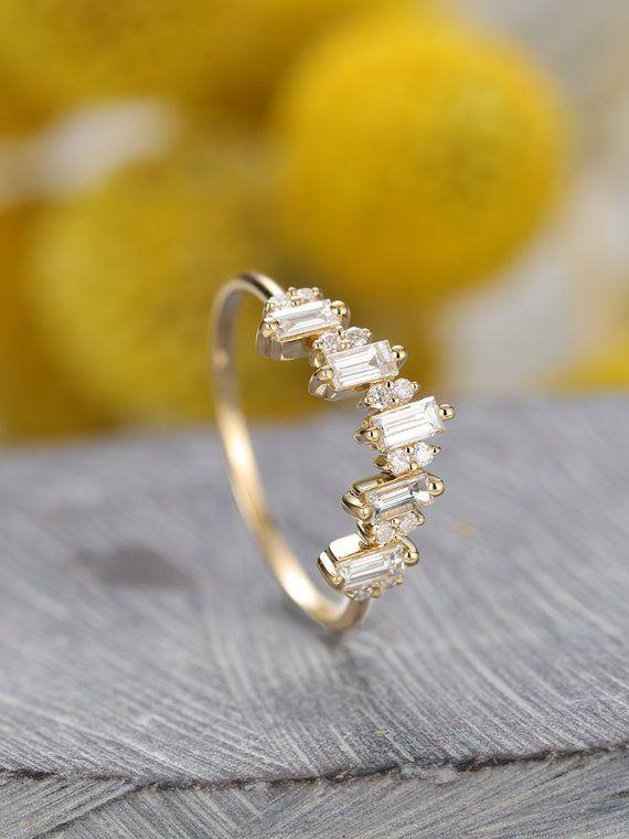 Curved Baguette wedding band,Diamond ring Women,Solid 14K Gold V Ring,Chevron Stacking,Dainty Diamond,Arc Promise,Anniversary Gift for her – Irene Klassen Bridal