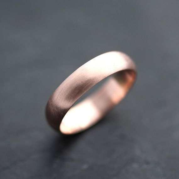 Men's Rose Gold Wedding Band, 5mm Brushed Half Round 14k Recycled Rose Gold Wedding Ring Gold Ring -  Made in Your Size