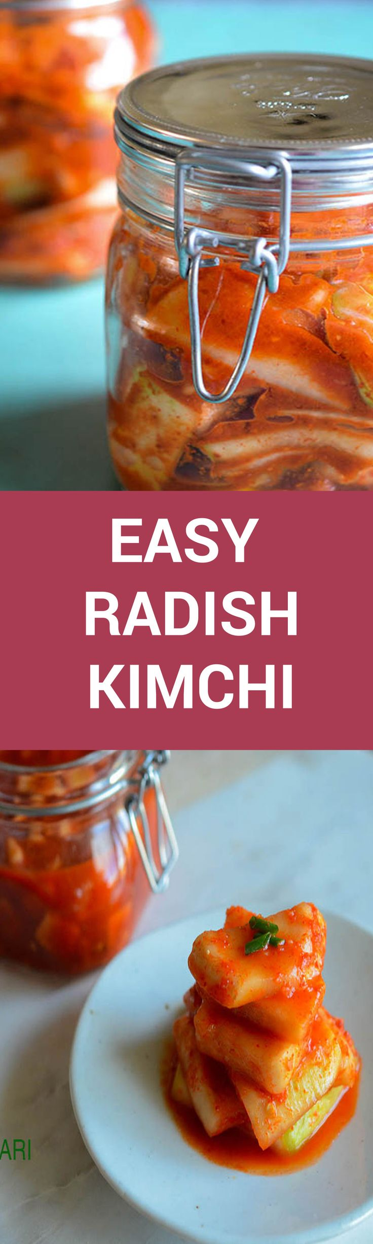 Why can't making Kimchi be quick and easy? Why does making Kimchi seem so complicated with so many steps? So here, I post a 6 ingredient (minus the brine) Easy Radish Kimchi recipe that is still traditional and fabulously delicious.