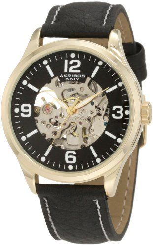 Akribos XXIV Men's AKR494YG Round Skeleton Automatic Strap Watch Akribos XXIV. $90.00. Stylish and sophisticated men's watch. This bold and beautiful skeleton automatic watch from Akribos XXIV will help you stay right in style.. Bright military style Arabic numerals & markers make this watch easy to read.. Watch arrives in a Akribos XXIV gift box complete with a 2 year limited warranty. A skeleton dial gives you a clear view of the well-crafted automatic movement and this watch...