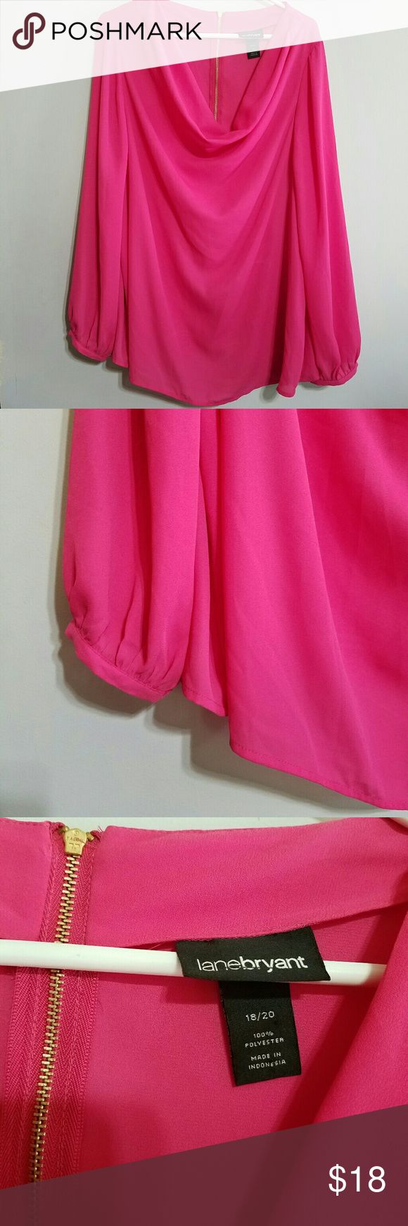 "Lane Bryant Fuchsia Blouse Size 18/20 Lane Bryant hot pink blouse with cowl neck and flowy sleeves. Gold zipper in back. Absolutely stunning!  ***And few very small spots near the bottom of the right sleeve, as shown in the last picture.   Measures lying flat  Bust 25"" Length 29"" Lane Bryant Tops Blouses"