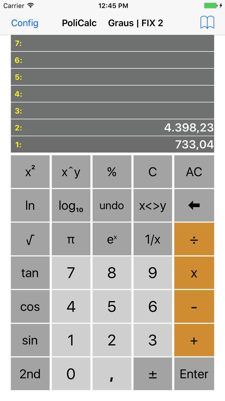 PoliCalc calculadoracientíficaRPN para iPhone. Muito simples de usar, pois tem apenas as teclas mais usadas no dia a dia de um profissional ou estudante. Utilizao mais eficiente método de cálculo que é a notação reversa polonesa RPN. Quem usa não quer voltar para o processo algébrico. A calculadora PoliCalc mostra 7 níveis de pilha operacional, …