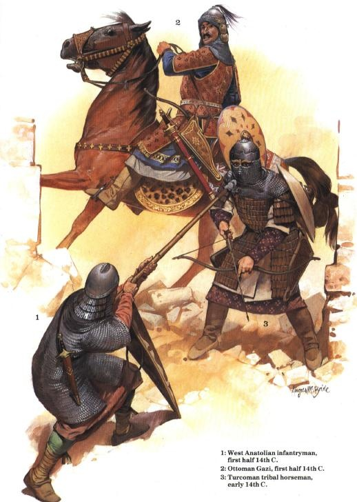 Troops and an enemy of the early Ottoman Empire, 14th cent. Art by Angus McBride.