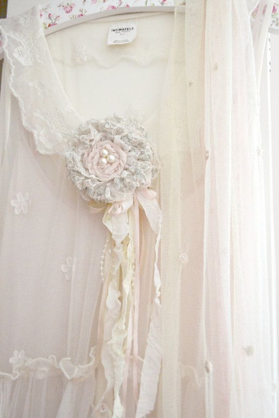 Pale Blush and Green Silk and Lace Gillyflower Handmade by Jennelise