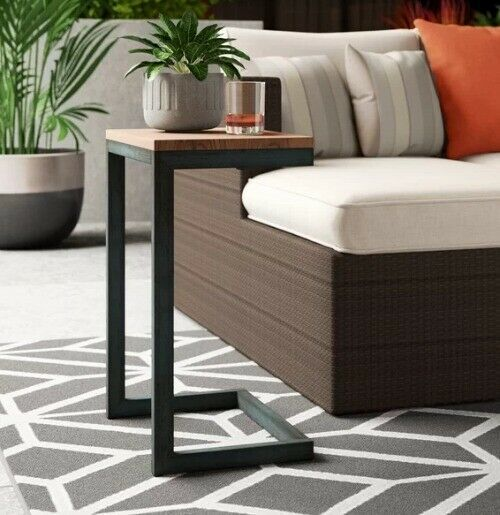 Outdoor End Table Snack Side C Shape Iron Fir Wood Patio Furniture