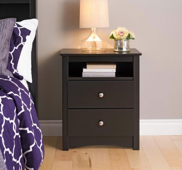 Night Stands For Bedrooms Cubby Hole Storage Drawers Black End Table Wood 2 Pc #Prepac #Contemporary