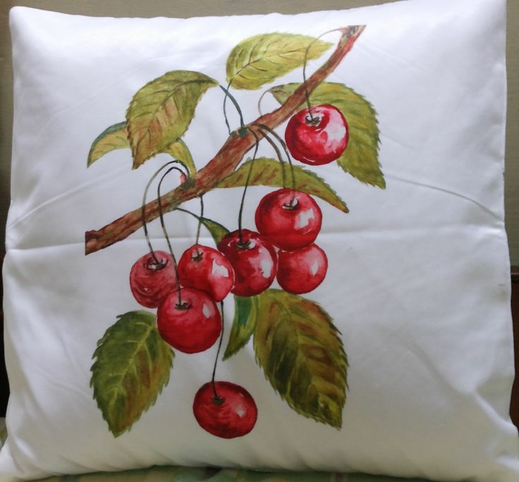 Red Cherries Cushion Cover #fruitcushioncover