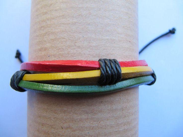 Leather Stranded Surfer Wristband Unisex Cuff Bracelet Mens Womens Wrap Bracelet