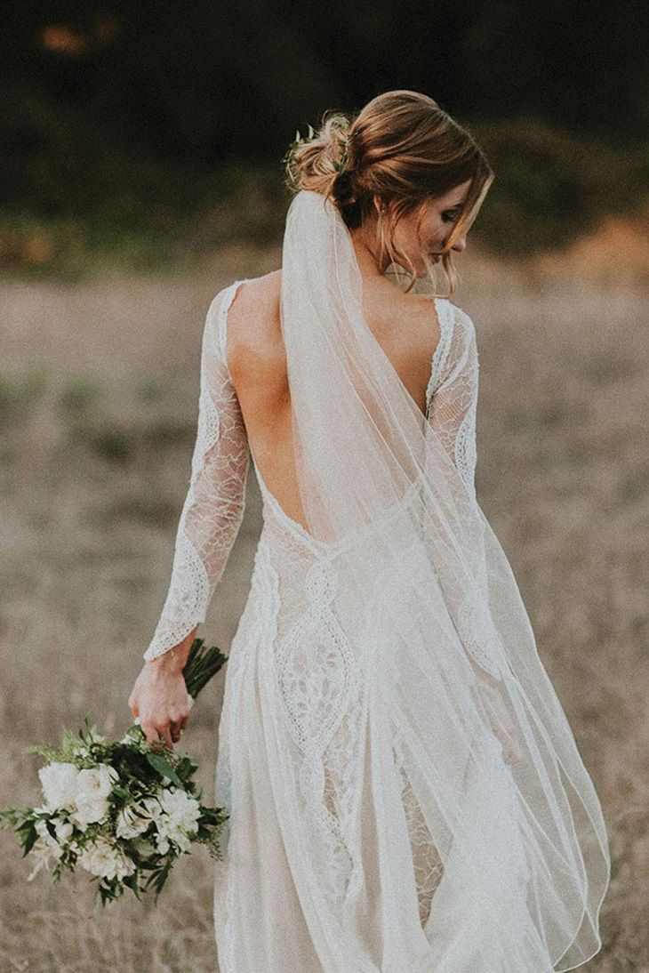 Ivory opened back wedding dress for boho bride