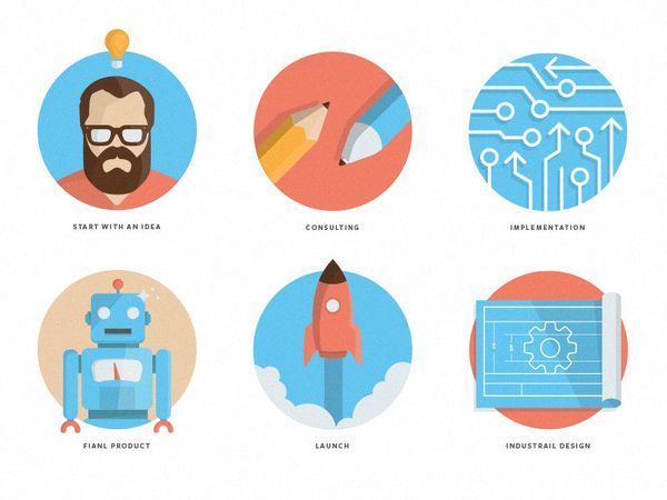Icon Set. Start with an idea, consulting, implementation, final product, launch, industrial design