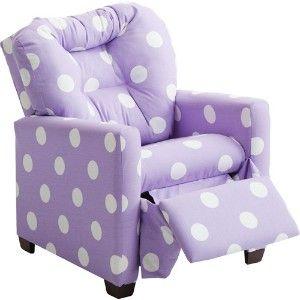 Kids' Twill Recliner, Lavender Polka Dot