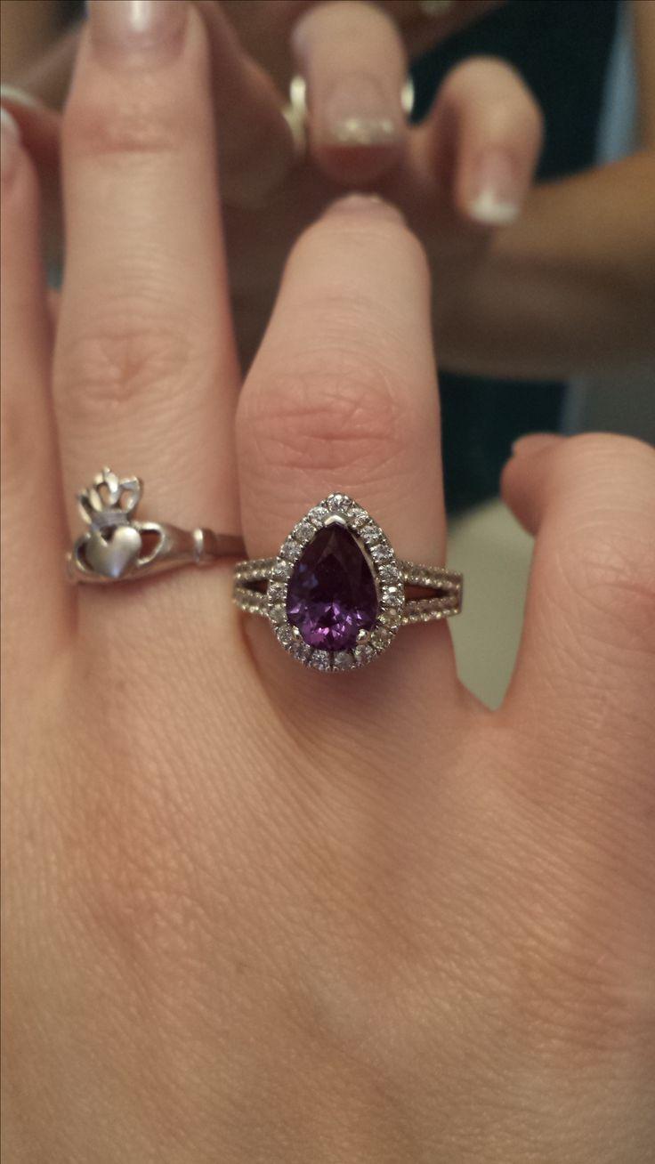 Alexandrite Wedding Ring With Gaurd
