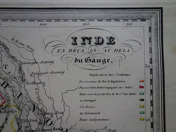 INDIA INDOCHINA old map 1840 Original antique hand-colored