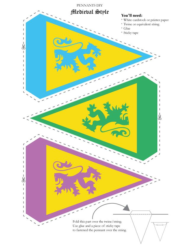Medieval theme Pennant template. Perfect for kids party. Freebie, just print and put it together