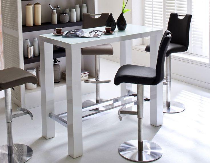 Table haute blanc laqué design avec plateau en verre POVA