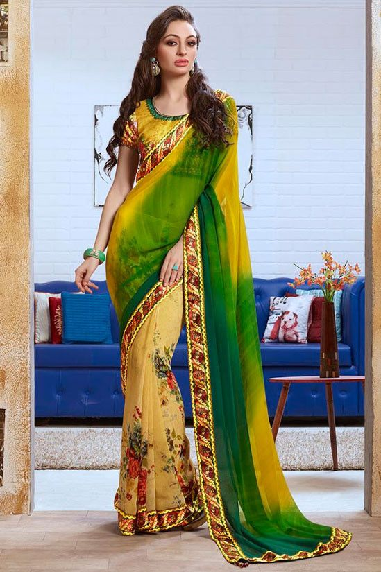 Alluring Apricot and Forest Green Saree