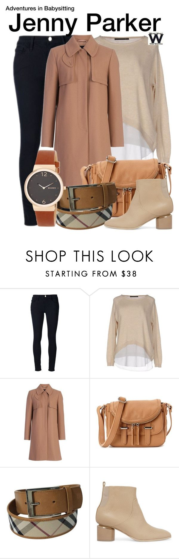 """Adventures in Babysitting (2016)"" by wearwhatyouwatch ❤ liked on Polyvore featuring Frame, ONLY, French Connection, Charles Jourdan, Burberry, Nicholas Kirkwood, Skagen, television and wearwhatyouwatch"