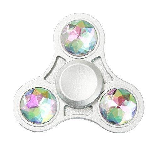 Double Sided Rainbow Rhinestone Fidget Finger Tri-Spinner EDC ADHD ADD Desk Toy (Rainbow)